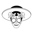 catrina with hat mexican culture vector image vector image