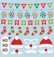 christmas decoration and santa claus red vector image vector image