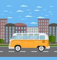 classic retro bus in urban landscape vector image vector image