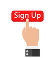 click to sign up button icon vector image vector image