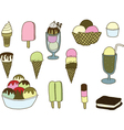 Collection of colorful tasty isolated ice cream vector image vector image