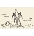 Drawn success teamwork partnership concept vector image