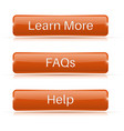 faqs learn more help buttons orange 3d icons vector image vector image
