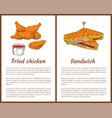 fried chicken and sandwich vector image vector image