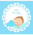 Greeting card with the birth of a boy vector image vector image