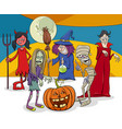 halloween holiday cartoon funny characters group vector image vector image