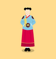 hanbok korea traditional clothes flat style dress vector image