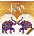 Happy Diwali gold greeting card with hand written vector image vector image