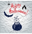 Happy Halloween greeting card with a boiling vector image