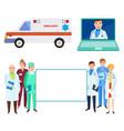 hospital staff doctors ambulance and online help vector image vector image