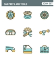 Icons line set premium quality of car parts tools vector image vector image