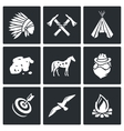 Indians Wild West and the Gold Rush icons set vector image