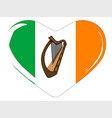 irish flag heart vector image vector image