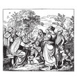 jesus blessing little children vintage vector image vector image
