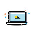 laptop computer mbe style logo vector image vector image