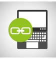 laptop technology link web icon vector image vector image