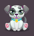 little cute cartoon sitting puppy vector image vector image