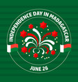 madagascar independence day label on green vector image vector image