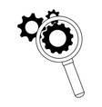 magnifying glass with gears symbol in black and vector image vector image