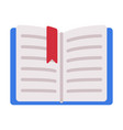 open book with bookmark flat style vector image