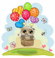 owl in the box is flying on balloons vector image