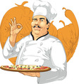 Pizzeria Chef Holding Pizza Pan vector image vector image