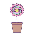 potted flower plant fill line vector image vector image