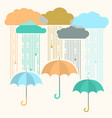 rain image with stylish flat clouds and umbrella vector image vector image