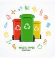 realistic 3d detailed recycled bins witch color vector image