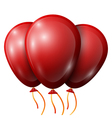 Realistic red balloons with ribbon isolated on vector image