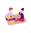 romantic couple in love having picnic together vector image vector image