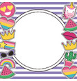 set of patches or round badge cute cartoon stripes vector image vector image