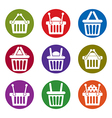 Shopping basket icons isolated on white background vector image vector image