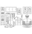 sketch of living wardrobe room interior vector image vector image