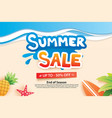 summer sale with paper cut symbol and icon vector image vector image