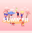 summer time season concept people enjoying vector image vector image