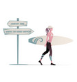surfer girl walking and wearing a cap bikini and vector image