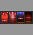 theater posters red curtains stage flyers vector image vector image
