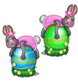 two rabbits in pink dress lie on large easter eggs vector image