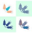 wheat rye and barley grains icon set in flat and vector image