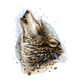 wolf howls sketchy graphical color portrait vector image vector image