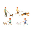 young guy and kids walking with dogs set vector image vector image