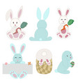 easter bunnies and rabbits collection vector image