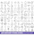 100 grocery store icons set outline style vector image vector image