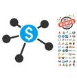 Bank Branches Icon With 2017 Year Bonus Symbols vector image vector image