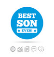 best son ever sign icon award symbol vector image vector image