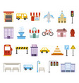 bundle city urban icons vector image