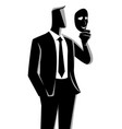 businessman holding a mask in front his face vector image vector image
