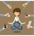 Businesswoman doing Yoga vector image