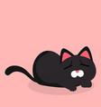 cartoon black cat tired emotion pink background ve vector image